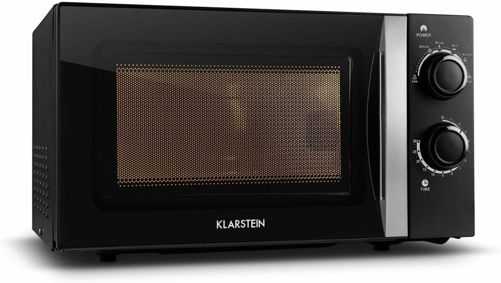 """Résultat de recherche d'images pour """"Klarstein myWave - Micro-ondes, 700 W, 20 l, pour petits ménages, ultra compact, vitré, 2 boutons, 6 puissances, minuterie, éclairage intérieur, signal de fin, inox, noir"""""""